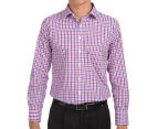 Van Heusen Men's Euro Fit Check Long Sleeve Shirt - Pink Champagne 2