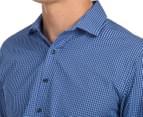 Van Heusen Men's Slim Fit Check Long Sleeve Shirt - Blue/Navy 6