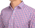 Van Heusen Men's Euro Fit Check Long Sleeve Shirt - Pink Champagne 6