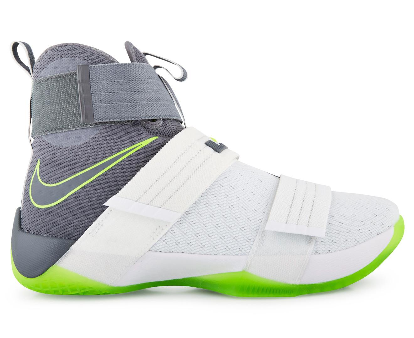 6ef90a0bd79 Nike Men s LeBron Soldier 10 SFG Basketball Shoe - White Cool Grey Electric  Green