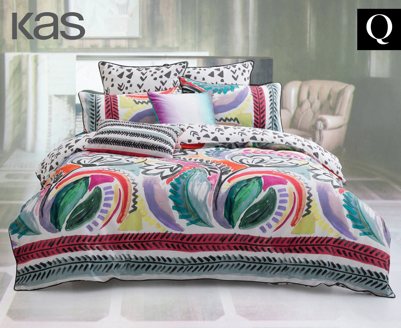 KAS Liliko Queen Bed Quilt Cover Set - Multi