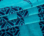 Velour 100x180cm Palm Trees Beach Towel - Navy 2