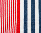 Velour 100x180cm Stripe Beach Towel - Black/Red 4