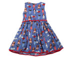 BQT Girls' Dog Print Dress - Cobalt 2