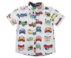 Urban Crusade Boys' Car Print Woven Shirt - White 1