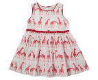 BQT Baby Giraffe Cotton Woven Dress - Red  1