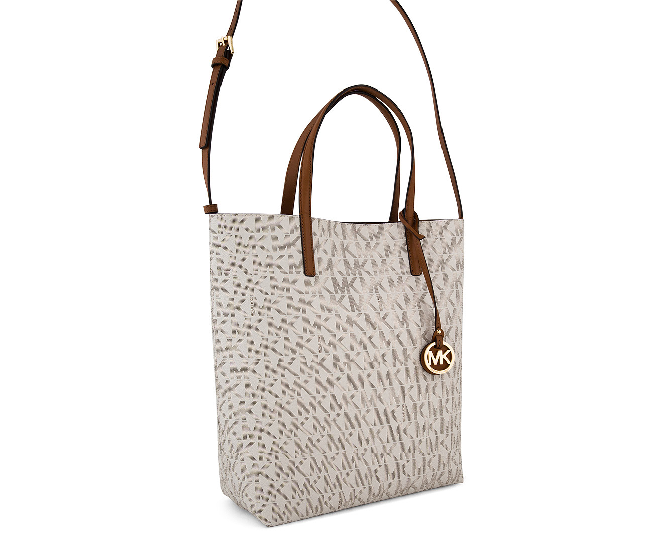 ca69452ab1ef Michael Kors Hayley Large Logo North-South Tote Bag - Vanilla/Acorn |  Catch.com.au