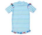 Plum Girls' Short Sleeve Rashie - Blue Stripe 2