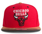 Mitchell & Ness Bulls Painted Leather Visor Strapback - Red/White 1