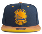 Mitchell & Ness Warriors Painted Leather Visor Strapback - Blue/Yellow 1