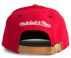 Mitchell & Ness Bulls Painted Leather Visor Strapback - Red/White 4