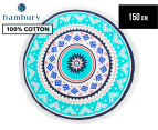 Bambury 150cm Zanzibar Printed Round Beach Towel - White/Multi 1