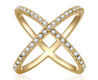 Mestige X Marks The Spot Crystal Ring in Gold w/ Crystals from Swarovski - Gold 2