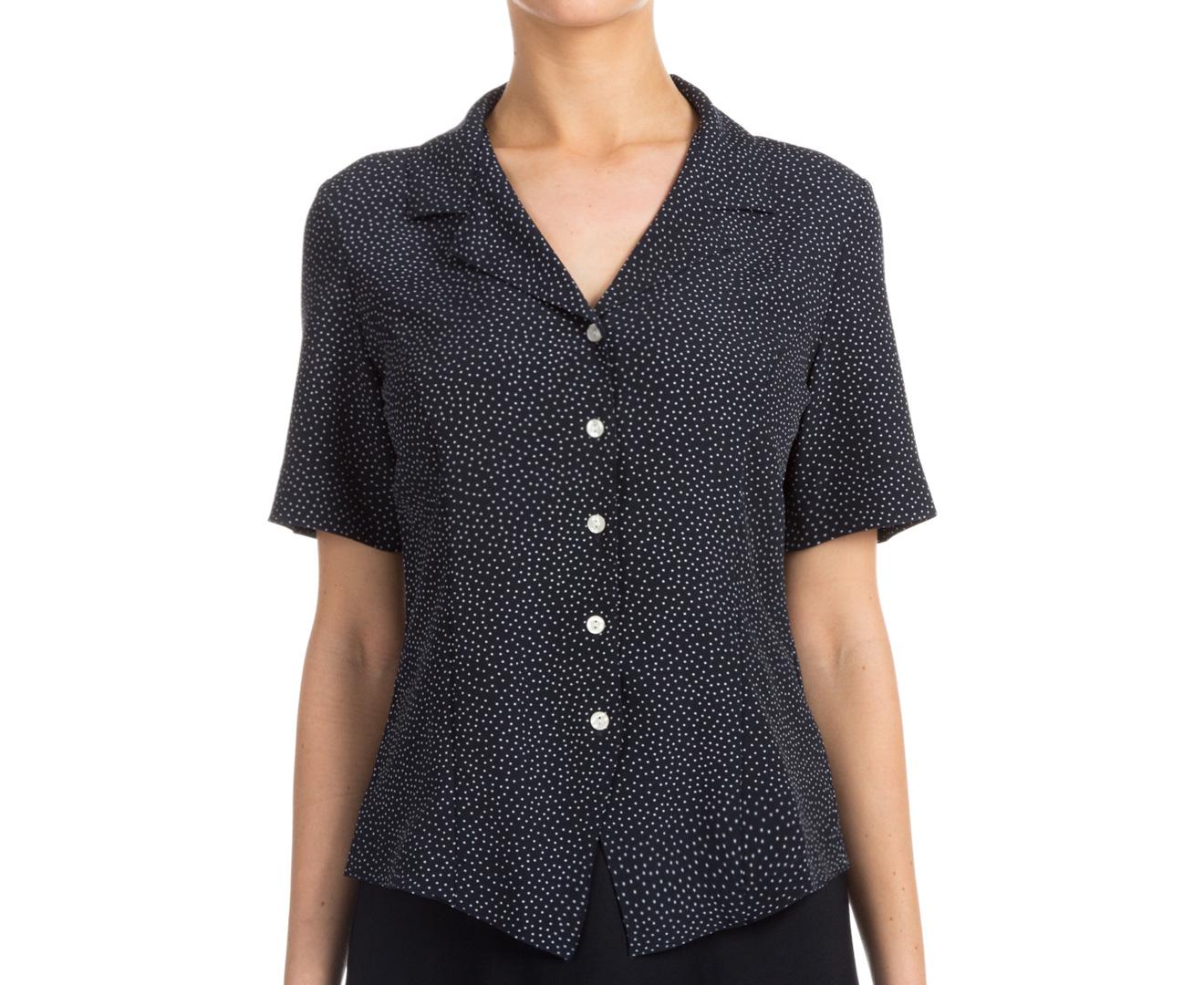 Stylecorp Women 39 S Short Sleeve Polka Dot Shirt Navy