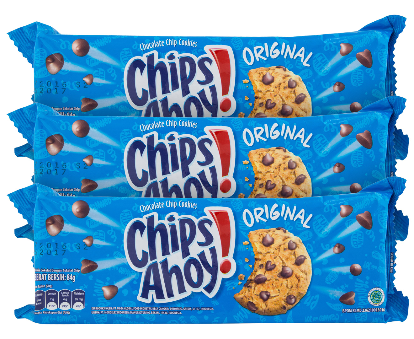 3 x chips ahoy  original chocolate chip cookies 84g