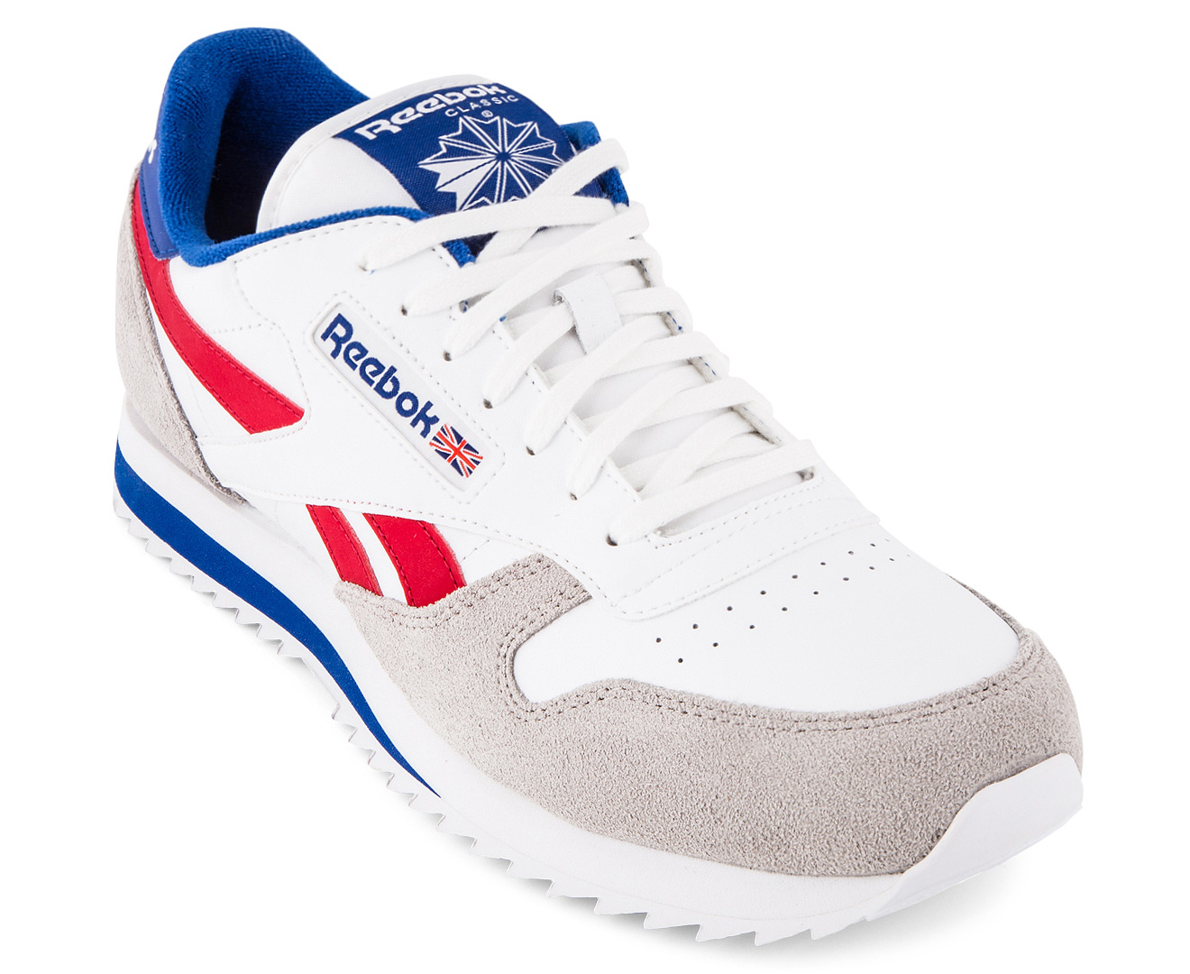 4cab9811b1a Reebok Men s Classic Leather Ripple Low BP Sneaker - White Blue Red Grey