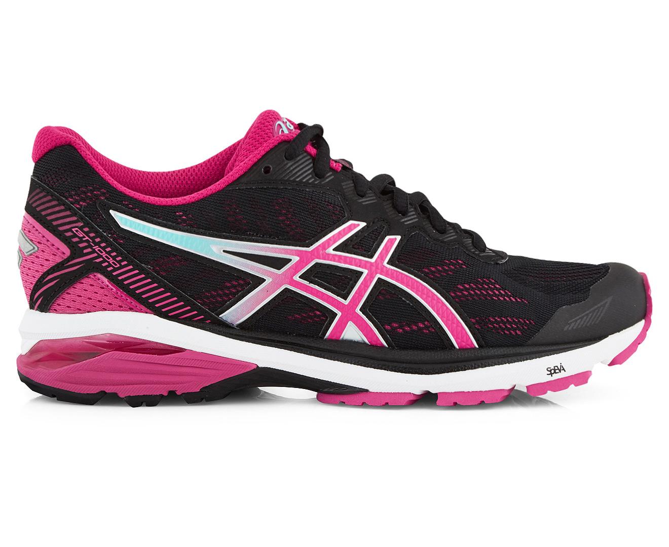 Asics Women S Gt 1000 5 Shoe Black Sport Pink Aruba Blue