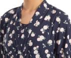 Lovable Women's Kiss Goodnight Short Robe - Peacoat Rose Print 6