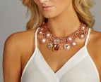 PeepToe Crystal Chain Link Necklace - Rose Gold 2