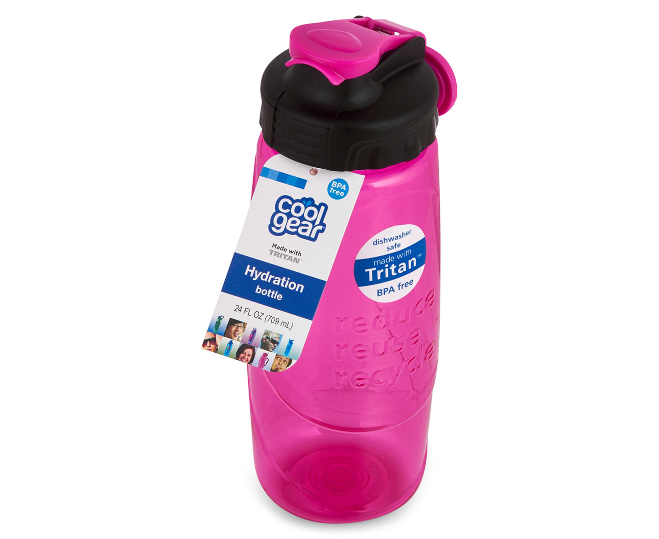 Cool gear reduce reuse recycle water bottle 700ml pink for Ways to reuse water bottles