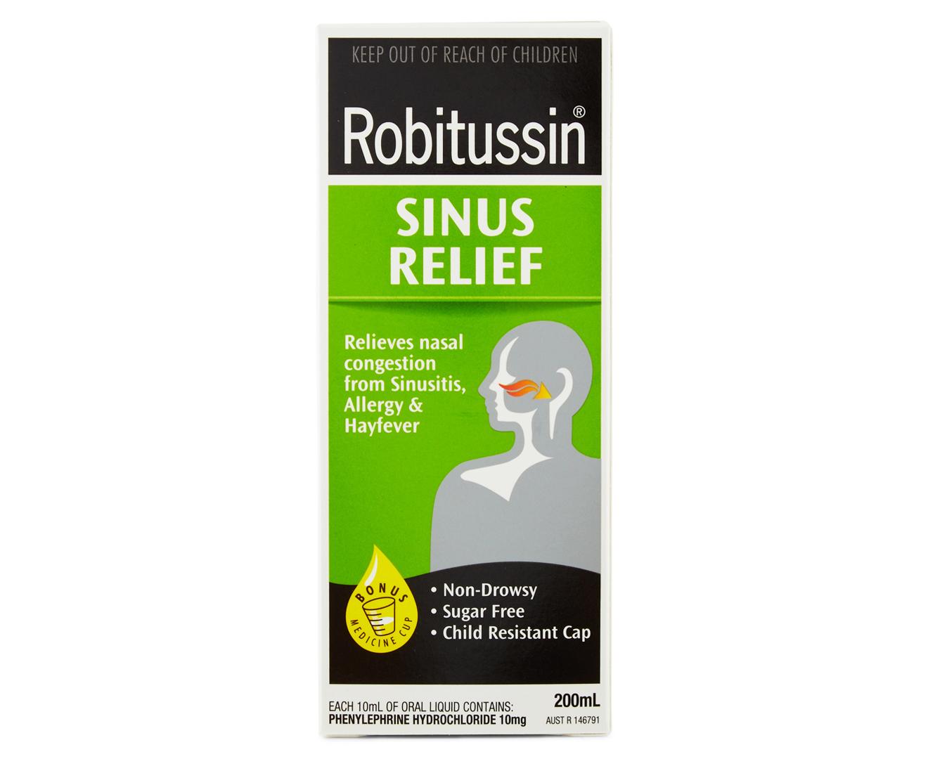 Robitussin Sinus Relief Liquid 200ml Groceryrun Com Au