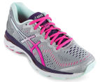 ASICS Women's GEL-Kayano 23 Shoe - Silver/Pink Glow/Parachute Purple 2