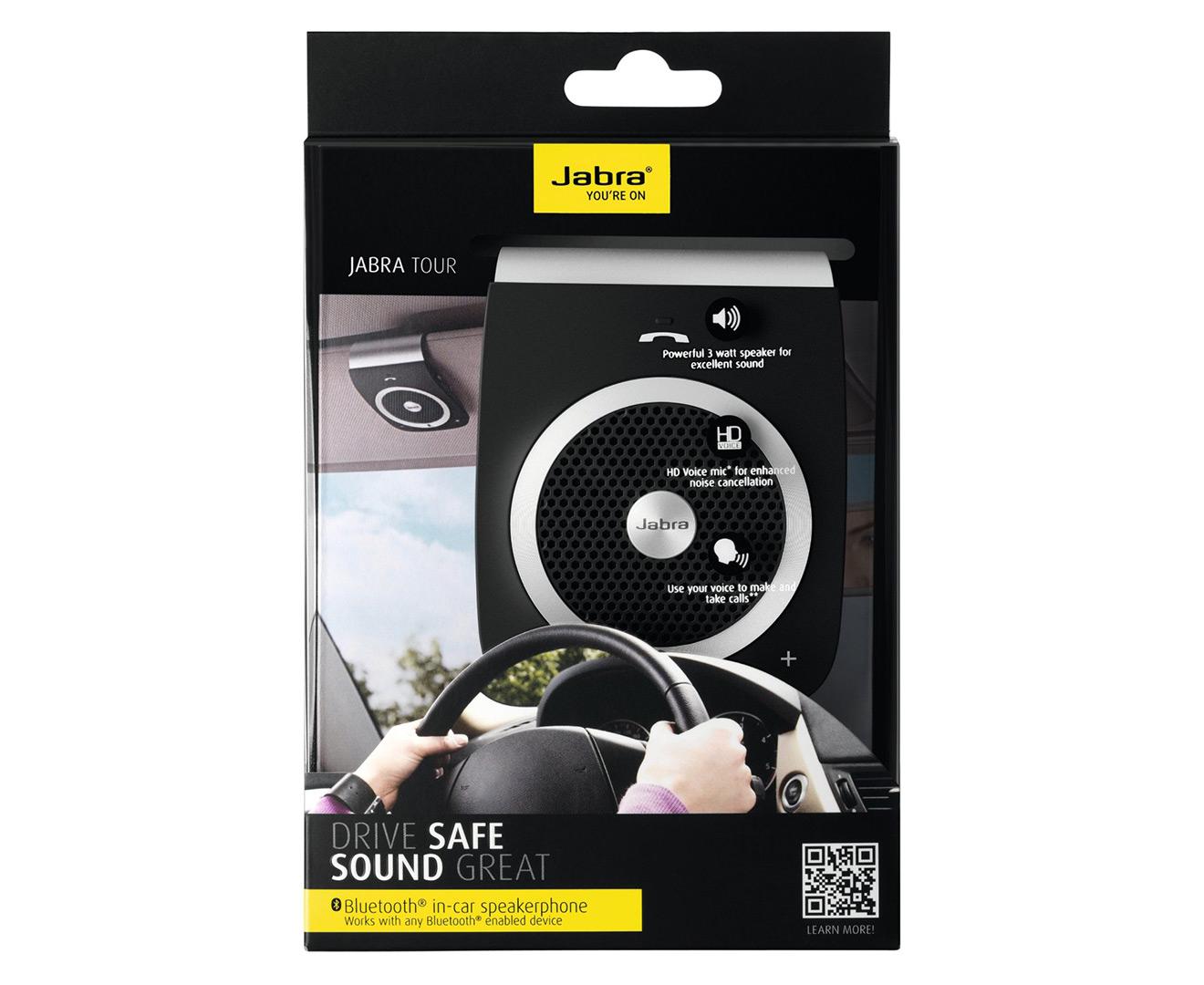 jabra tour bluetooth in car speakerphone black ebay. Black Bedroom Furniture Sets. Home Design Ideas