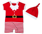 BQT Baby Boys' Santa Romper & Hat 2-Piece Set - Red 1