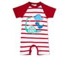 BQT Baby Boys' Dino Stripe Romper - Red 1