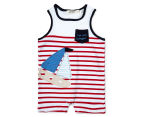BQT Baby Boys' Sailing Boat Romper & Hat 2-Piece Set - Red/Navy 2