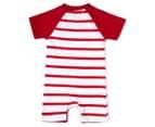 BQT Baby Boys' Dino Stripe Romper - Red 2