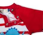 BQT Baby Boys' Dino Stripe Romper - Red 4