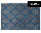 Rug Culture 290x200cm Iconic Shine Durable Contemporary Trellis Rug - Grey 1