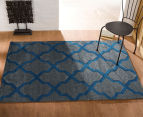 Rug Culture 290x200cm Iconic Shine Durable Contemporary Trellis Rug - Grey 2