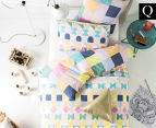 Hiccups By Linen House Domino Queen Bed Quilt Cover Set - Pink  1
