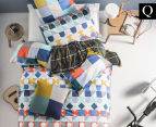 Hiccups By Linen House Domino Queen Bed Quilt Cover Set - Blue  1