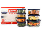 Pyrex 14-Piece Simply Store Glass Container Set w/ Blue Lids - Blue 1