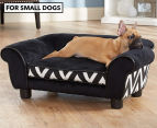 Enchanted Home Plush Couch Pet Bed For Small Dogs - Black 1