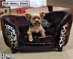 Enchanted Home Plush Pet Snuggle Bed For Small Dogs - Leopard 1