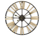 Extra Large Classic 60cm Round Block Clock w/ Brush Gold Numerals - Charcoal/Gold 1