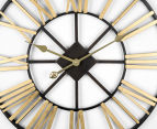 Extra Large Classic 60cm Round Block Clock w/ Brush Gold Numerals - Charcoal/Gold 3