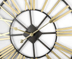 Extra Large Classic 60cm Round Block Clock w/ Brush Gold Numerals - Charcoal/Gold 4