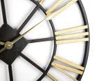Extra Large Classic 60cm Round Block Clock w/ Brush Gold Numerals - Charcoal/Gold 5