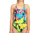 Arena Women's Routes Energy Back One-Piece - Black/Rose Violet 1