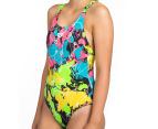 Arena Women's Routes Energy Back One-Piece - Black/Rose Violet 3