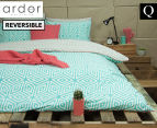 Ardor Wathe Queen Quilt Cover Set - Aqua 1