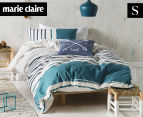 Marie Claire Mini By Linen House Lilou Single Bed Quilt Cover Set - Teal 1
