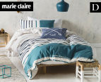 Marie Claire Mini By Linen House Lilou Double Bed Quilt Cover Set - Teal  1