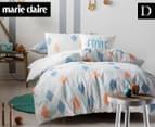 Marie Claire Mini By Linen House Quincey Double Bed Quilt Cover Set - Aqua  1