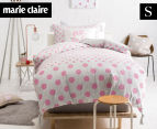 Marie Clare Mini By Linen House Dot Single Bed Quilt Cover Set - Pink/White  1
